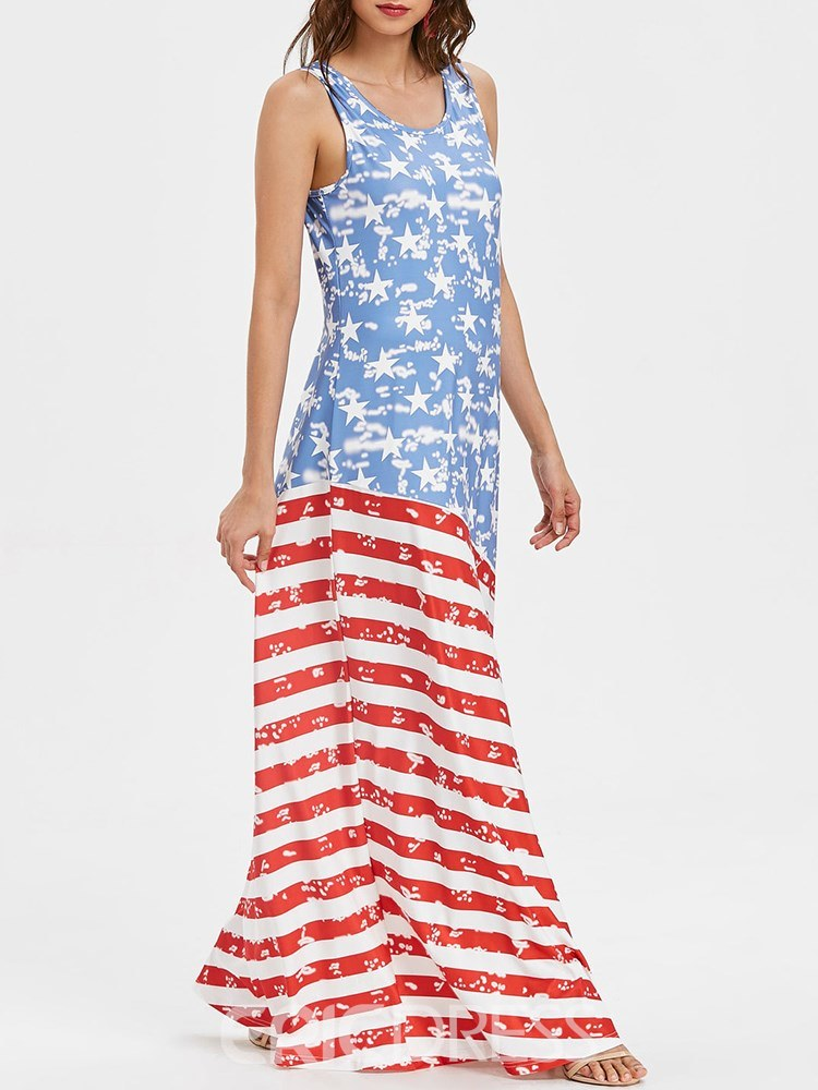 Ericdress World Cup Independence Day Casual Maxi Dress