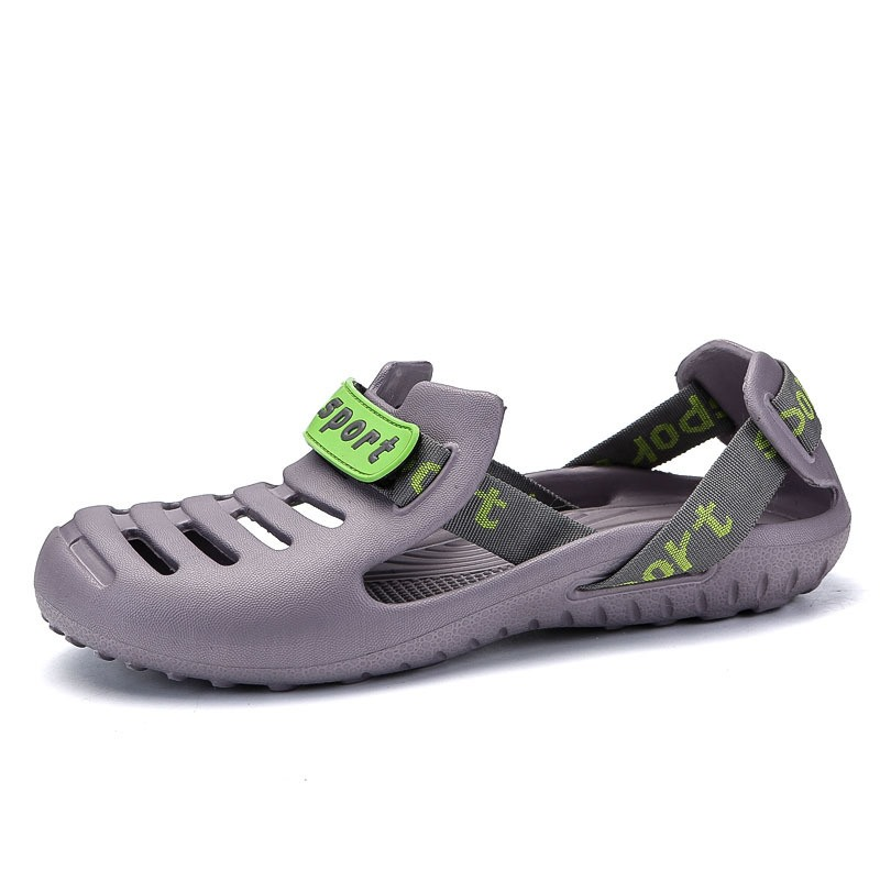 Ericdress PVC Velcro Hollow Round Toe Men's Sandals