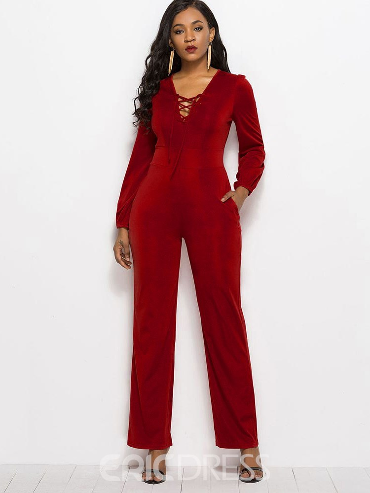 Ericdress Lace-Up Plain Slim Women's Jumpsuit
