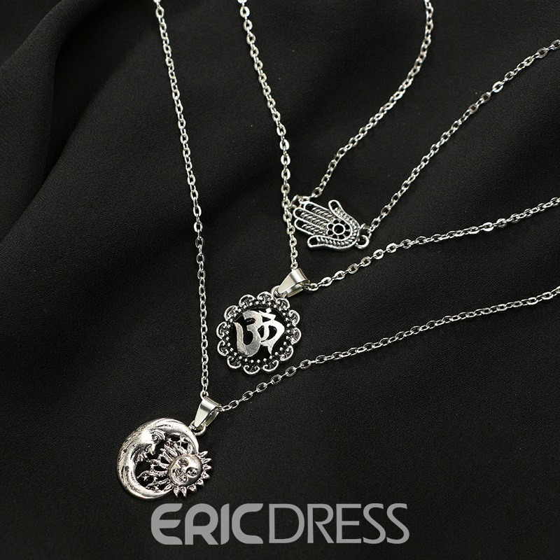 Ericdress Multilayer Summer Beach Charm Silver Layered Necklace For Women