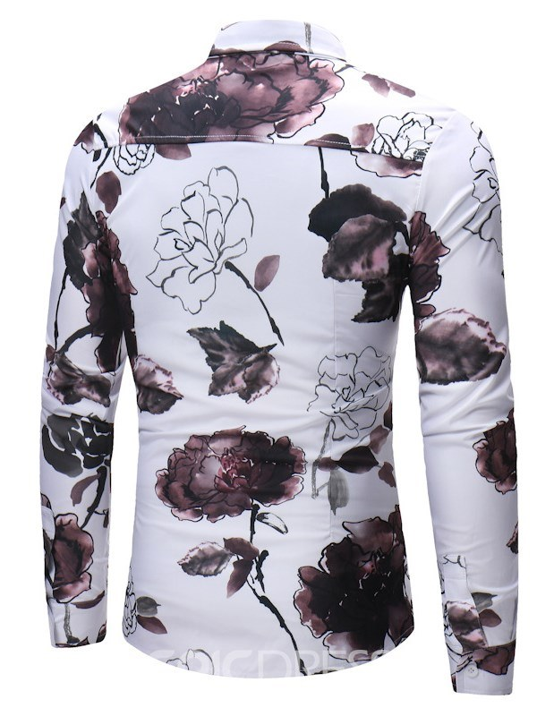 Ericdress White Chinese Style Printed Slim Fitted Mens Casual Shirts