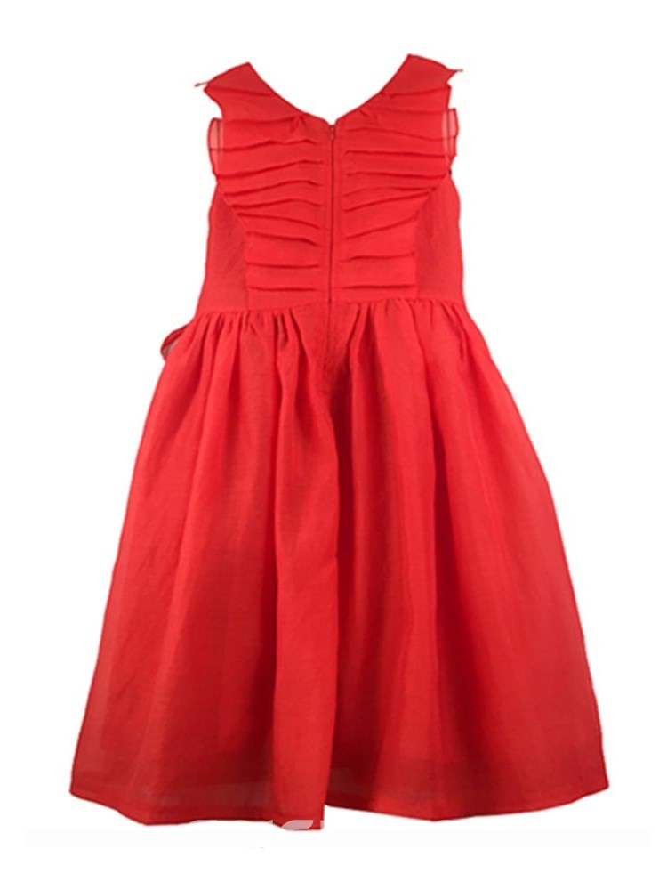 Ericdress Pleated Bowknot Plain A-Line Girl's Casual Dress