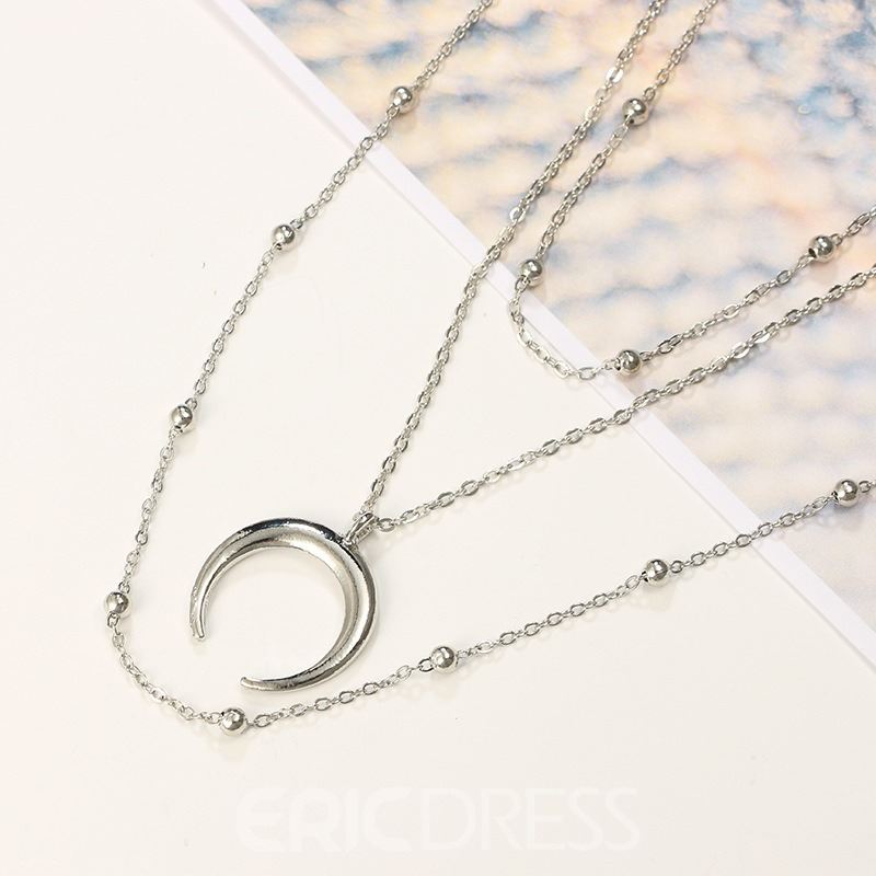 Ericdress Crescent Multilayer Silver Layered Necklace For Women