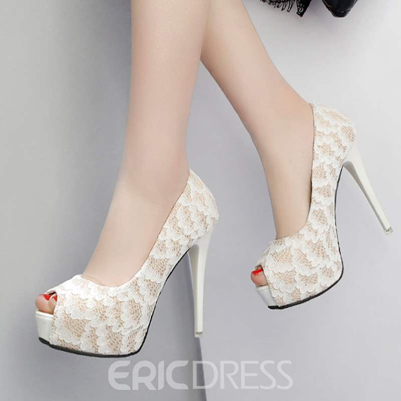 Ericdress Lace Slip-On Peep Toe Stiletto Heel Pumps