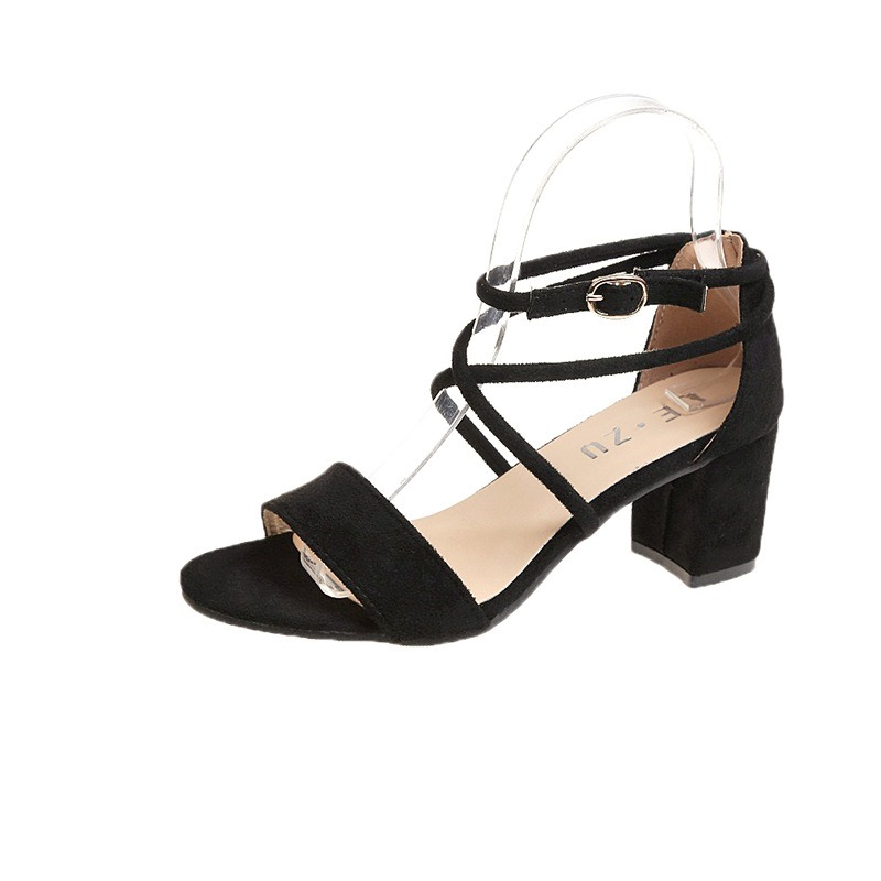 Ericdress Suede Line-Style Buckle Open Toe Chunky Sandals