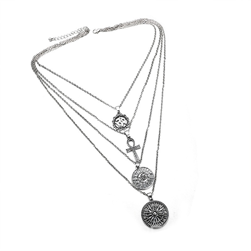 Ericdress Goddess Cross Double Chain Charm Necklace