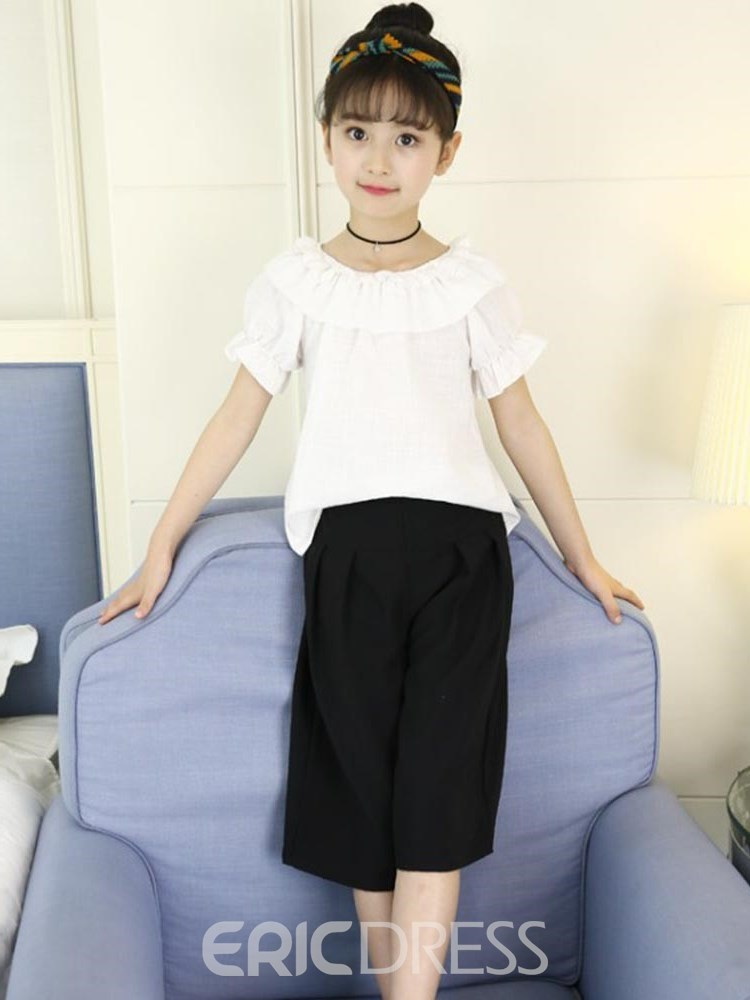 Ericdress Stringy Selvedge Colr Block T Shirts & Pants Girl's Outfits
