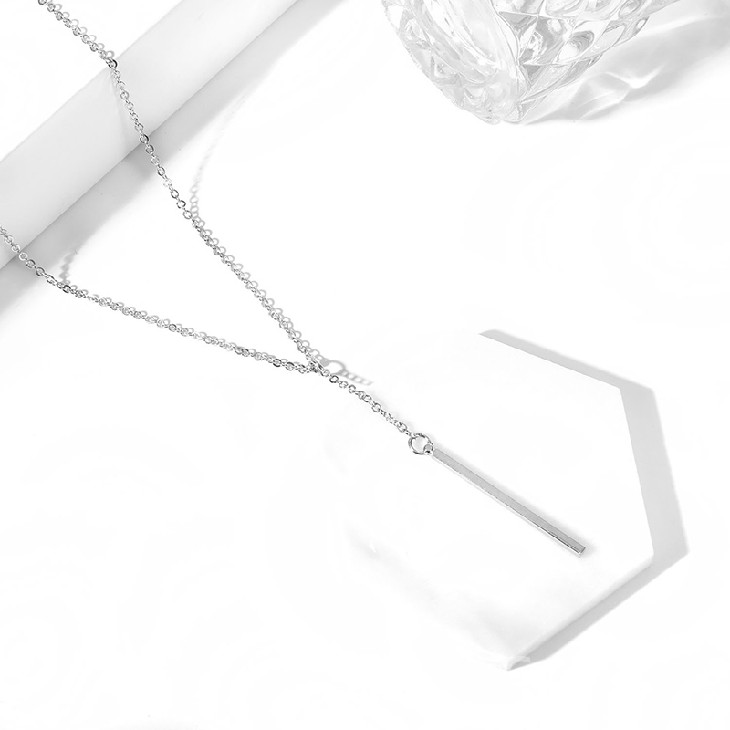 Ericdress Multilayer Silver Water Drop Gem Necklace