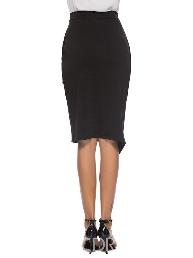 Ericdress Office Lady Asymmetrical Pleated Women's Skirt