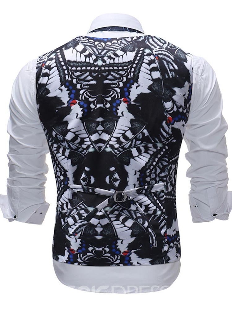 Ericdress Black Floral Printed Mens Suit Vest