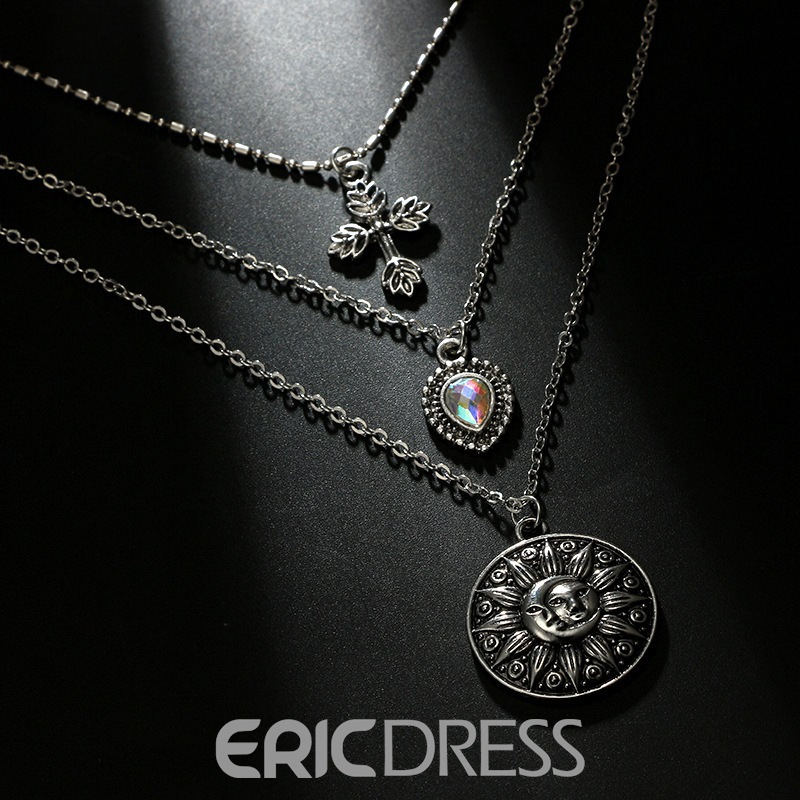 Ericdress Cross Sun Charm Silver Layered Necklace For Women