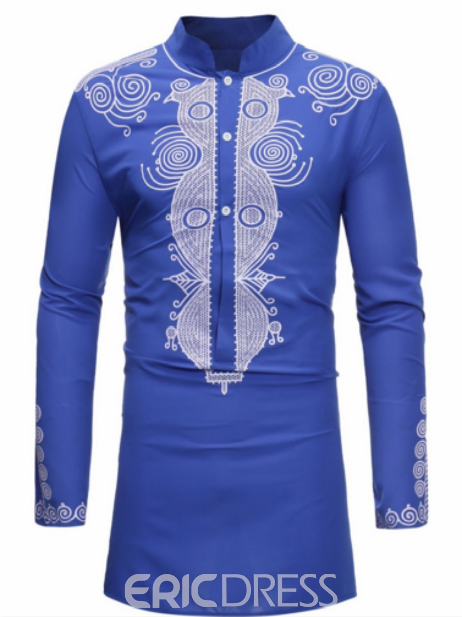 Ericdress African Fashion Dashiki Print Slim Fitted Stand Collar Mens Shirts