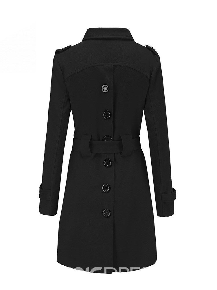 Ericdress Lapel Tunic Plain Single-Breasted Long Sleeves Coat
