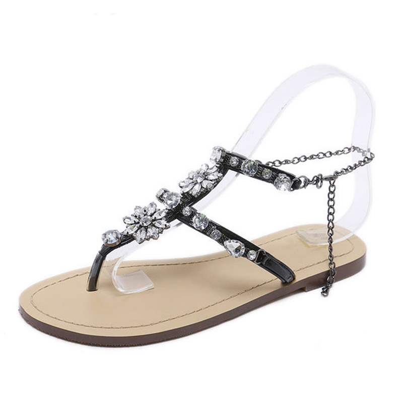 Ericdress Dramatic Rhinestone Strappy Thong Flat Sandals