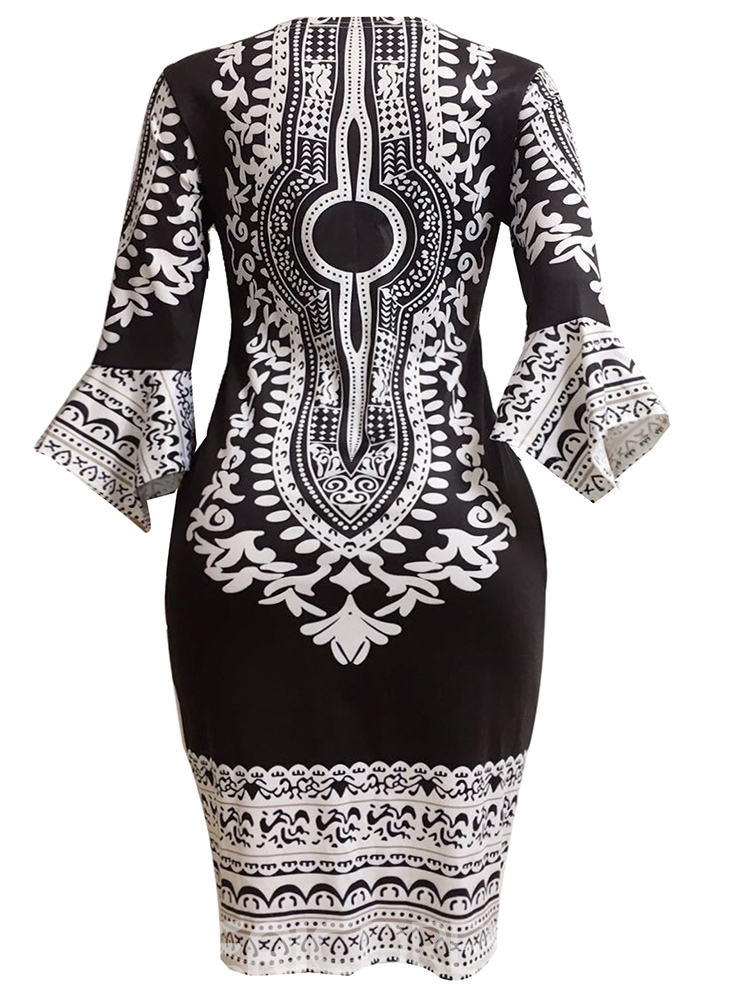 Ericdress Flare Sleeve Ethnic Western Bodycon Dress