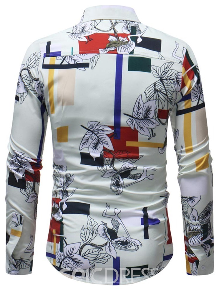 Ericdress White Floral Striped Print Mens Long Sleeve Shirts