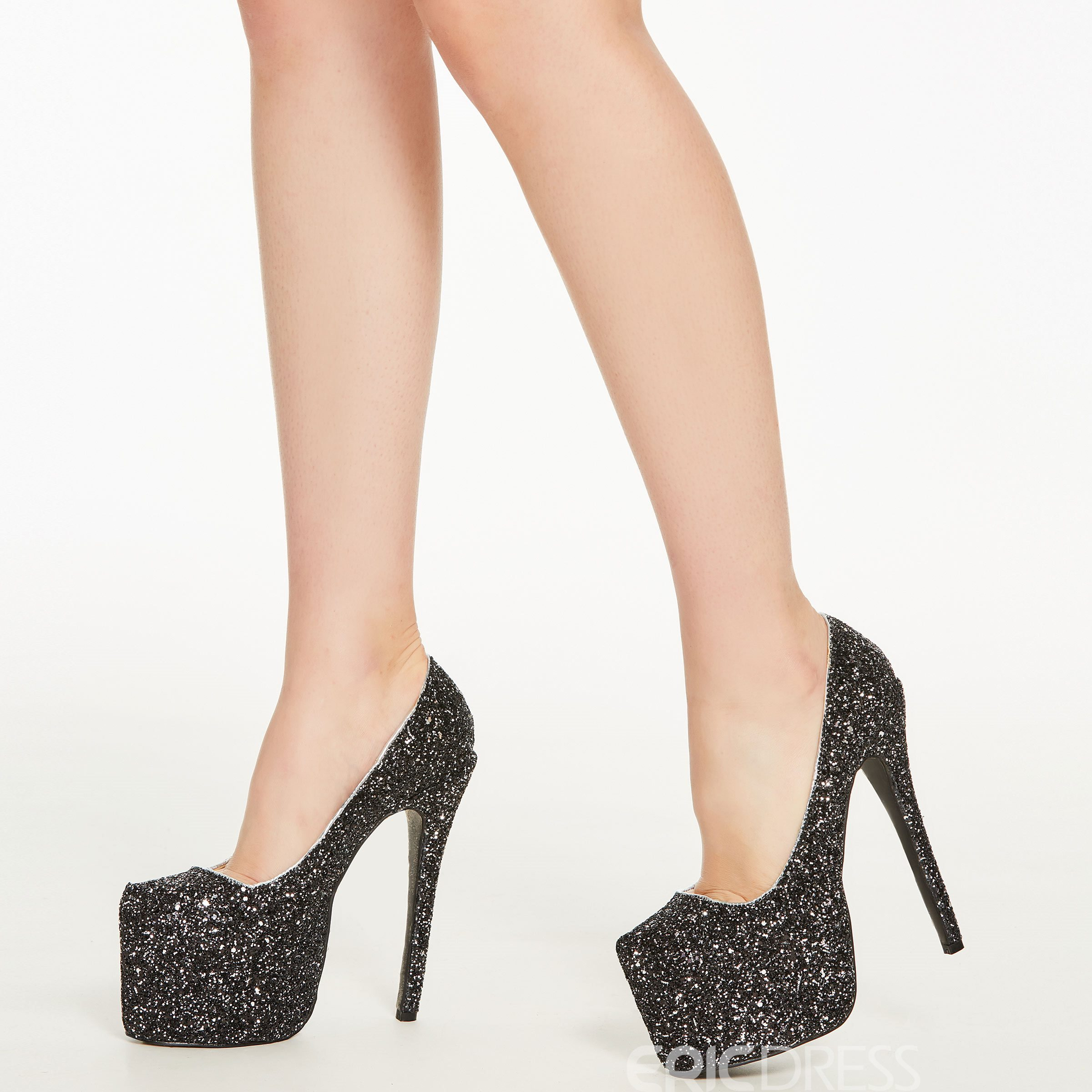 Amazing Rhinestone Coppy Leather Platform High Heel Shoes