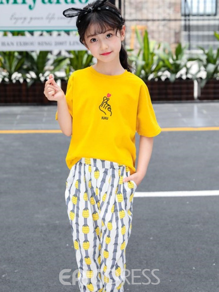 Ericdress Cartoon Printed T Shirts & Pants Girl's Casual Outfits