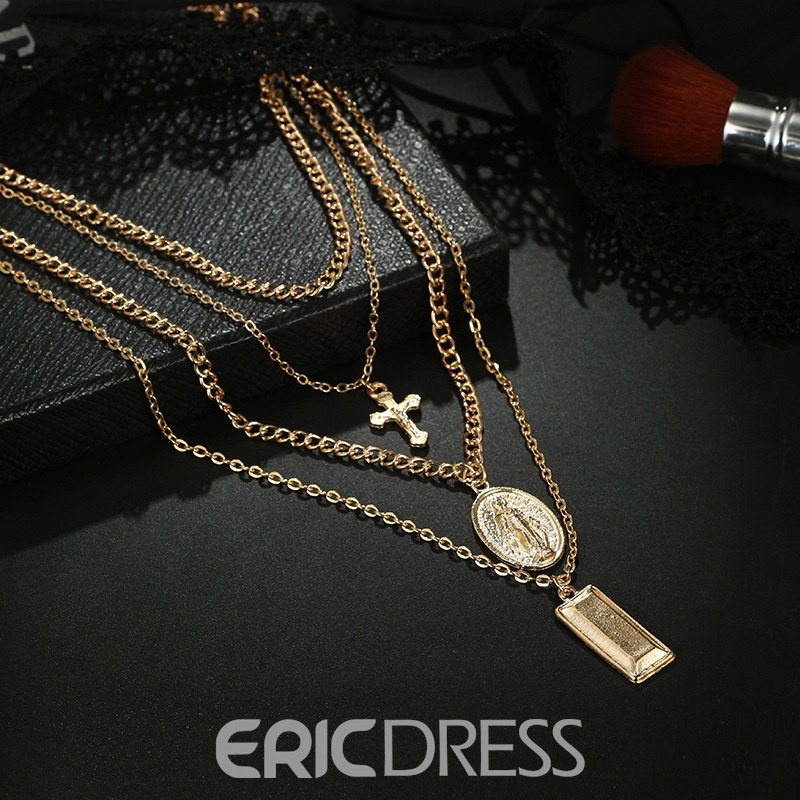 Ericdress Multilayer Golden Cross Charm Layered Necklace For Women