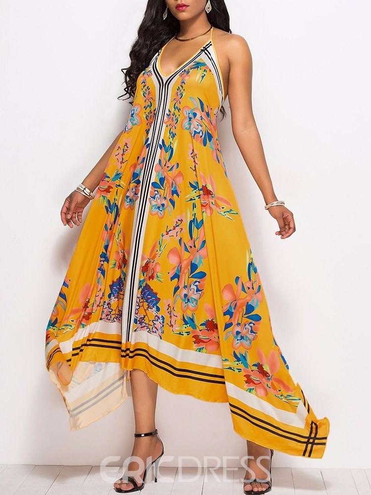 Ericdress Yellow Floral Asymmetrical Backless Casual Dress