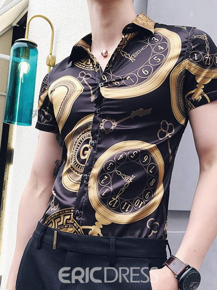 Ericdress Geometric Pattern Printed Slim Short Sleeve Mens Casual Shirts