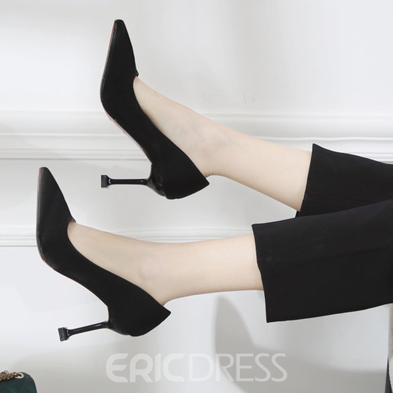 Ericdress Suede Slip-On Pointed Toe Spool Heel Pumps