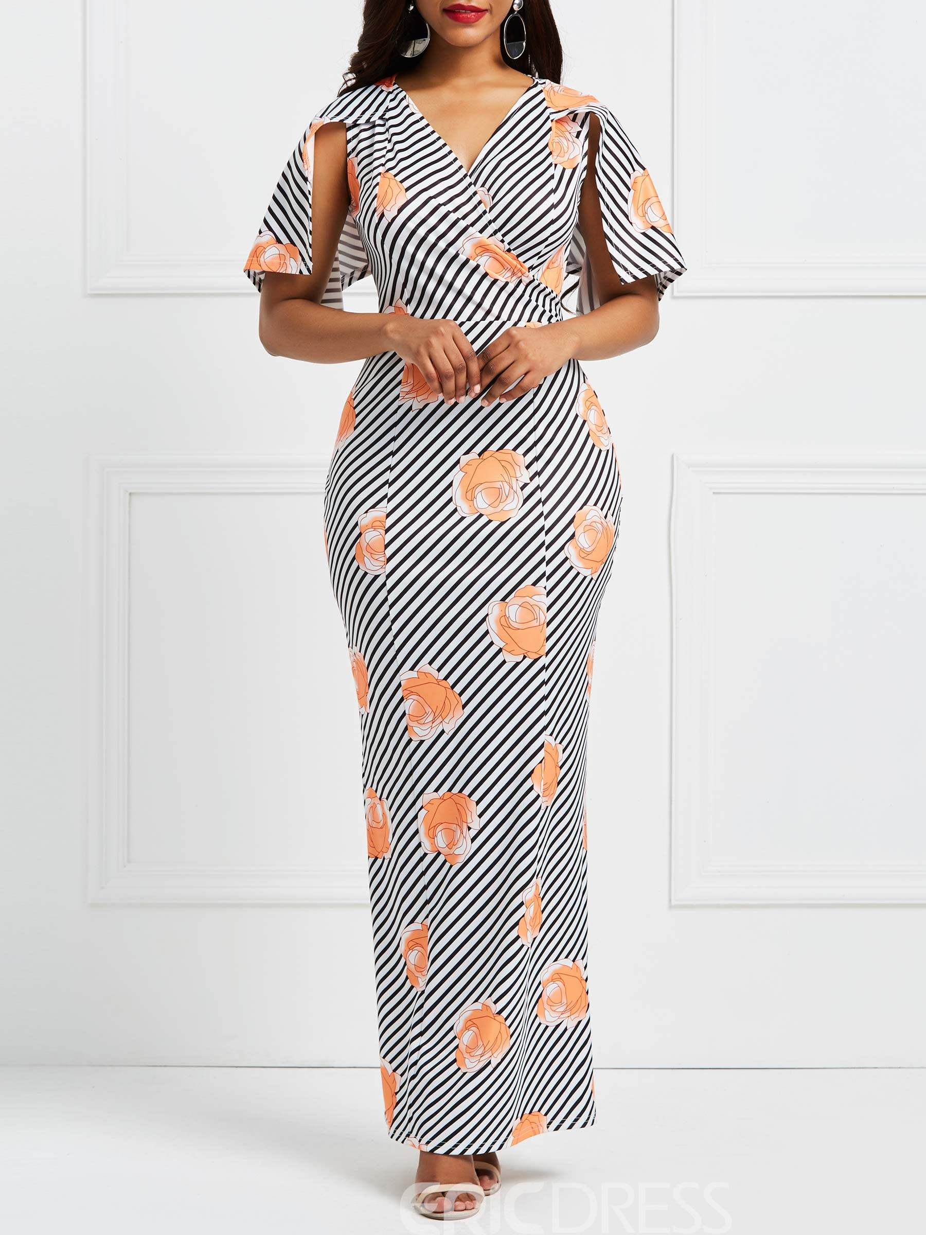 Ericdress Floral V-Neck Half Sleeves Pullover Maxi Dress