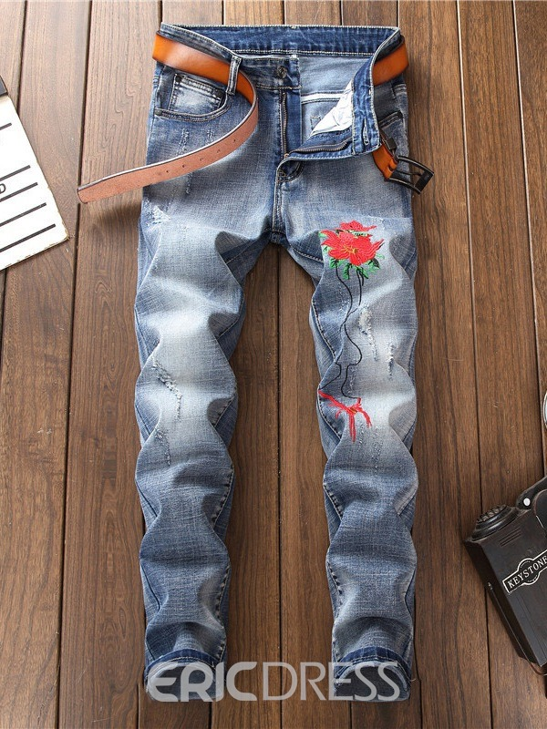 Ericdress Light Blue Floral Embroidery Mens Straight Jeans