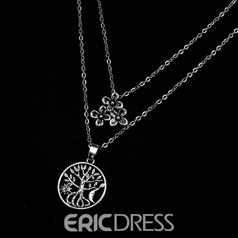 Ericdress Bohe Style Beach Summer Pendant Silver Layered Necklace For Women