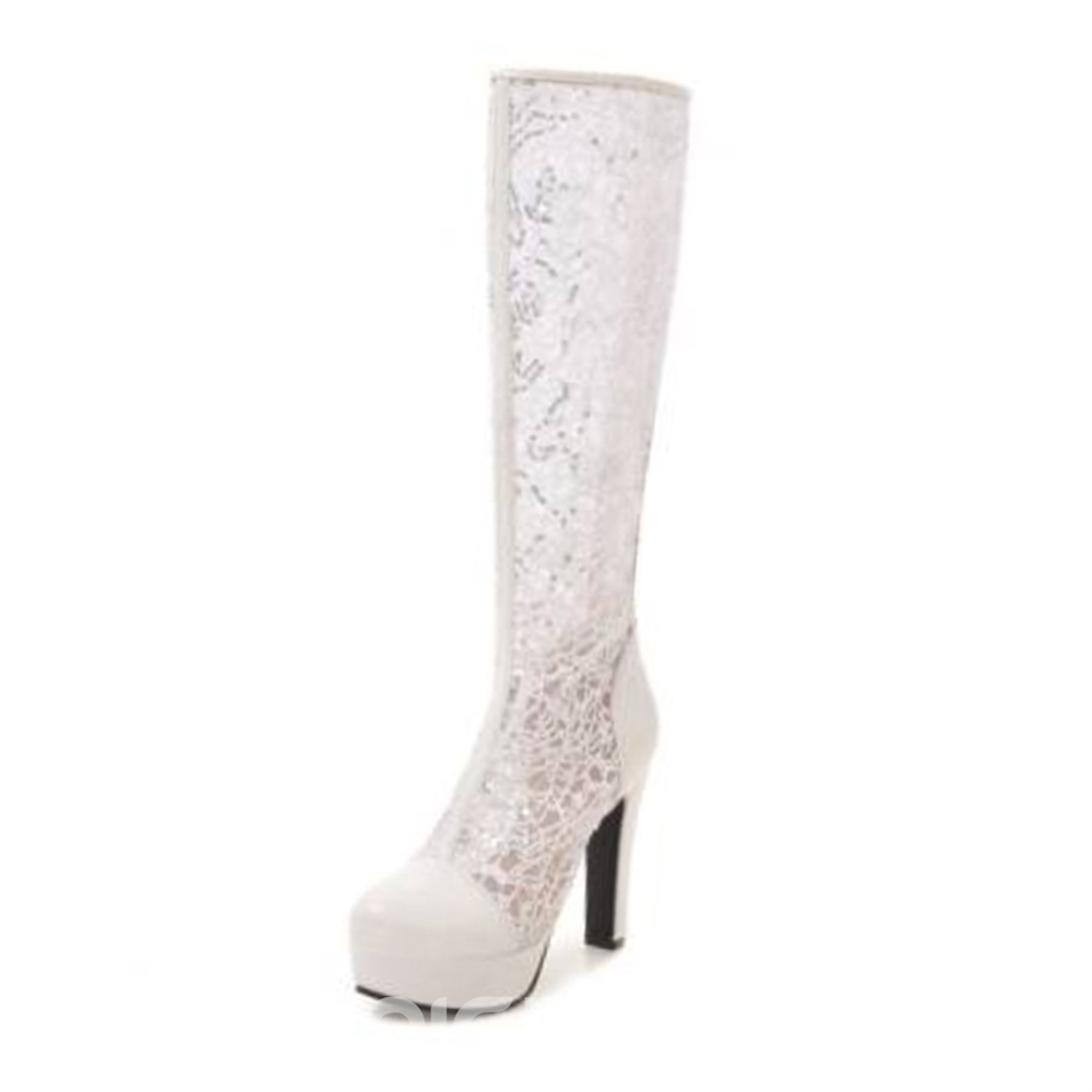 Ericdress Fashion Patchwork Chunky Heel Knee High Boots
