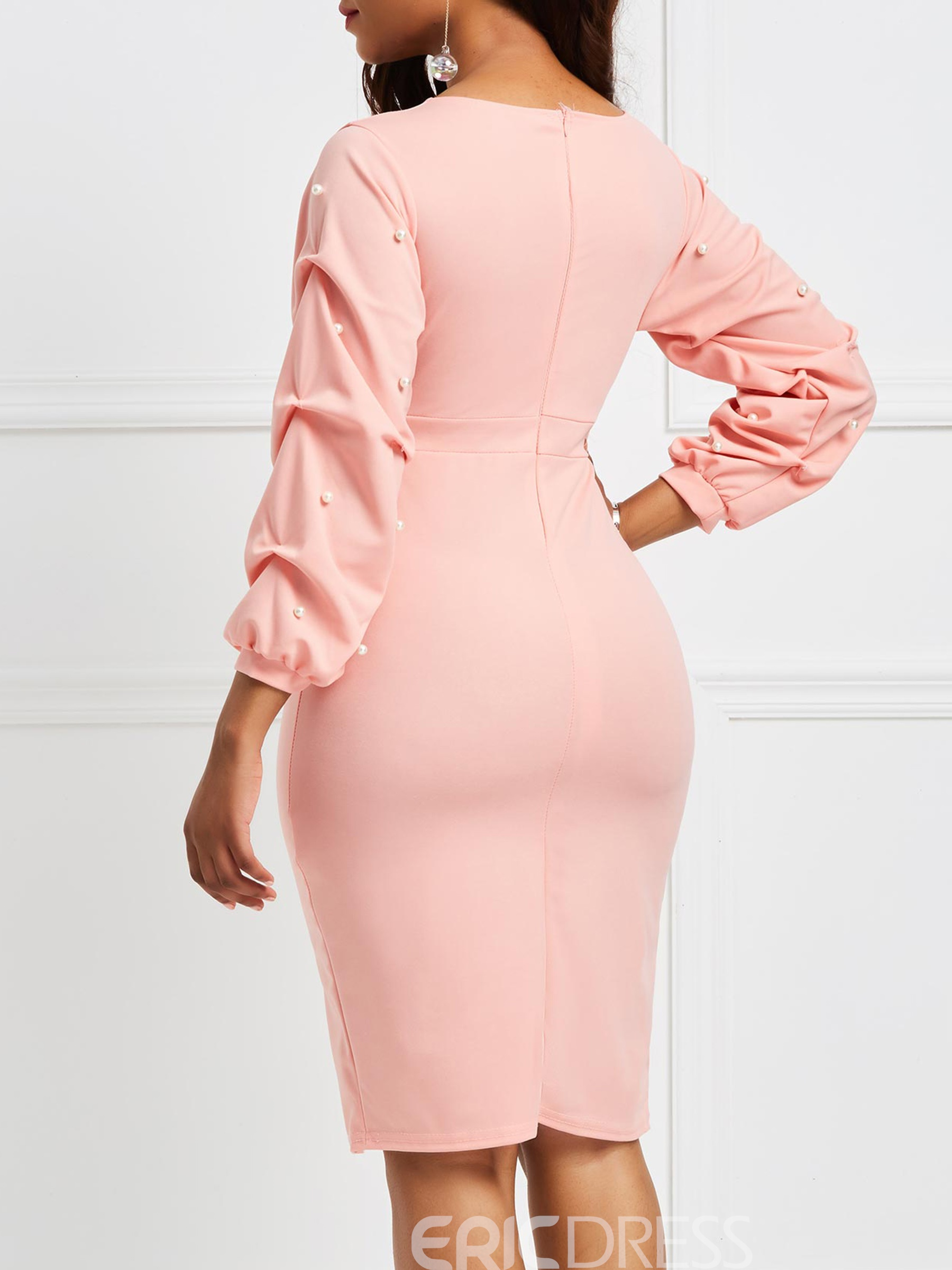 Ericdress Pink V-Neck Heap Sleeve Bead Bodycon Dress
