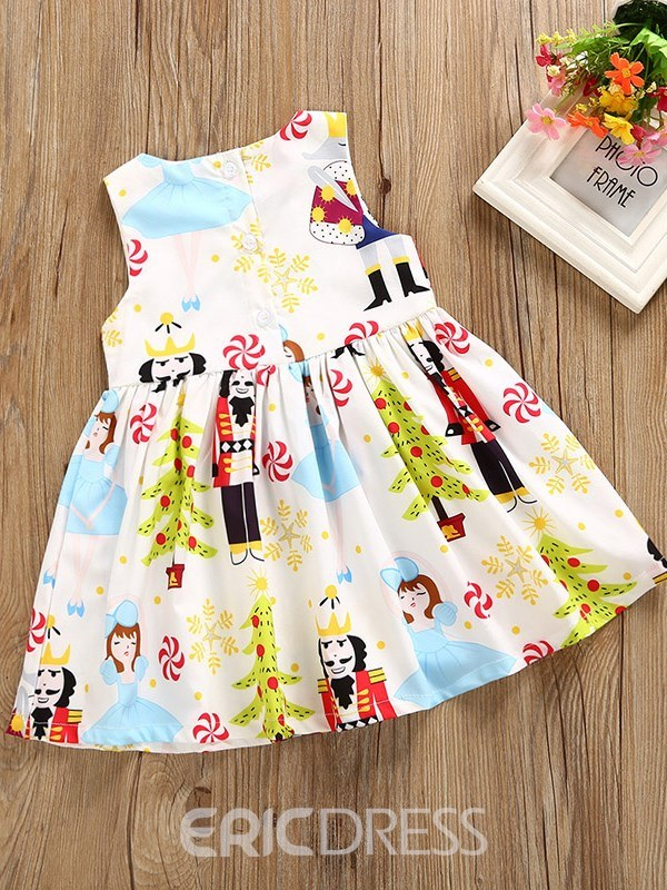 Ericdress Cartoon Floral Print A-Line European Style Baby Girl's Dress