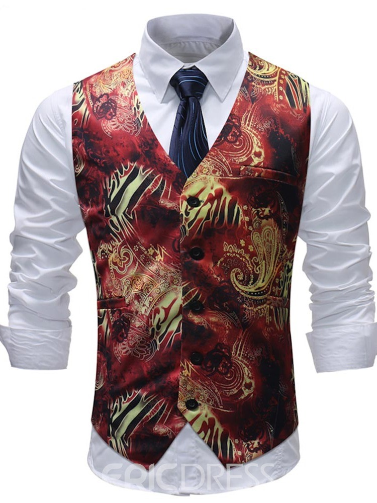 Ericdress Red Floral Printed Mens Casual Dress Suit Vest