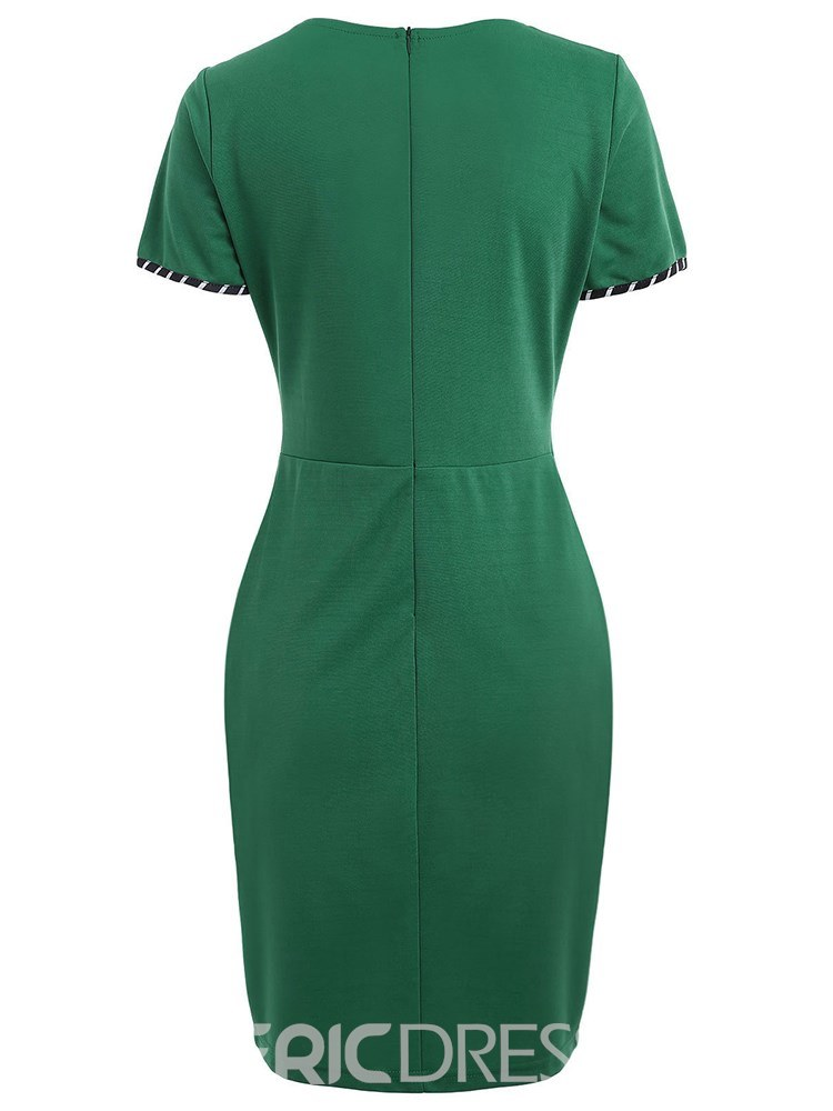 Ericdress Green Pleated Patchwork Zipper Bodycon Dress