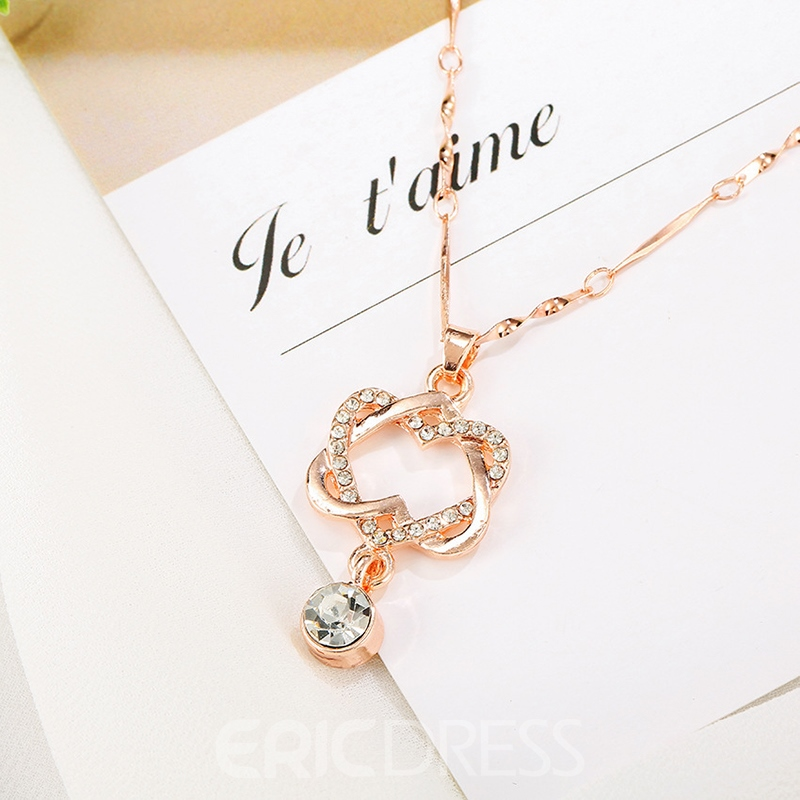 Ericdress Double Heart Crystal Charm Necklace