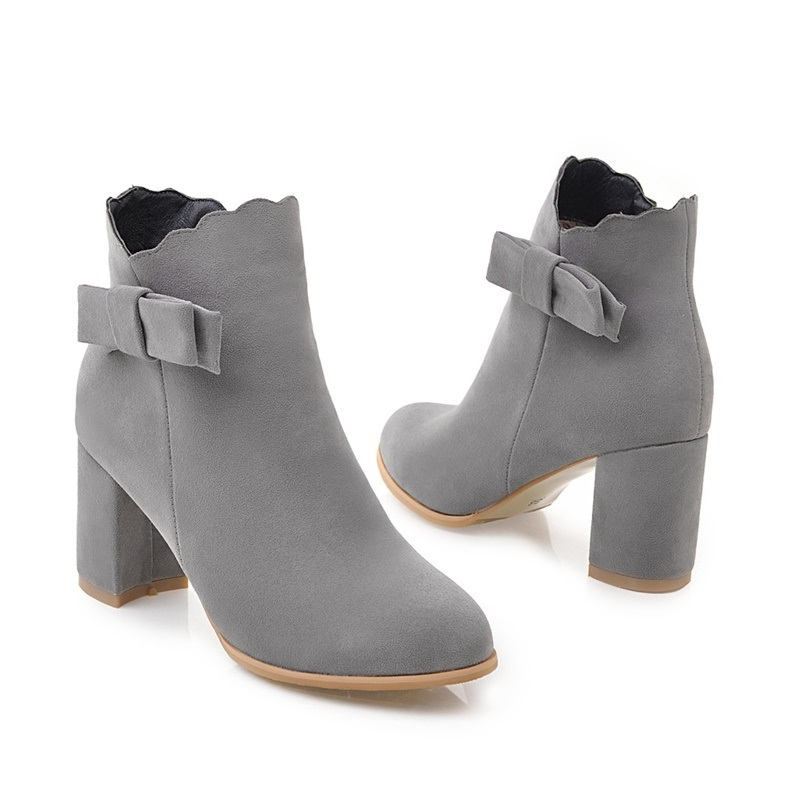 Ericdress Fashion Bowknot Side Zipper Chunky Heel Ankle Boots