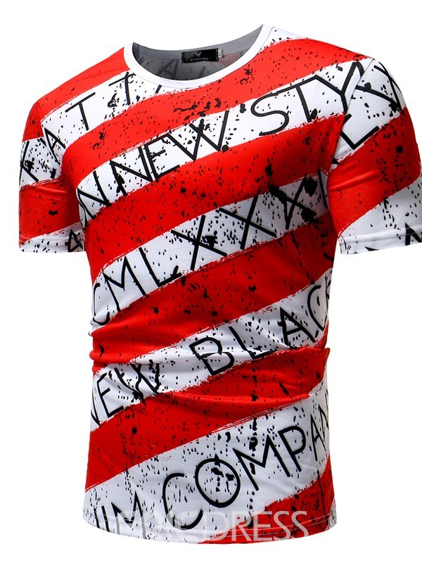 Ericdress Stripe Letter Printed Color Block Mens Casual T Shirts