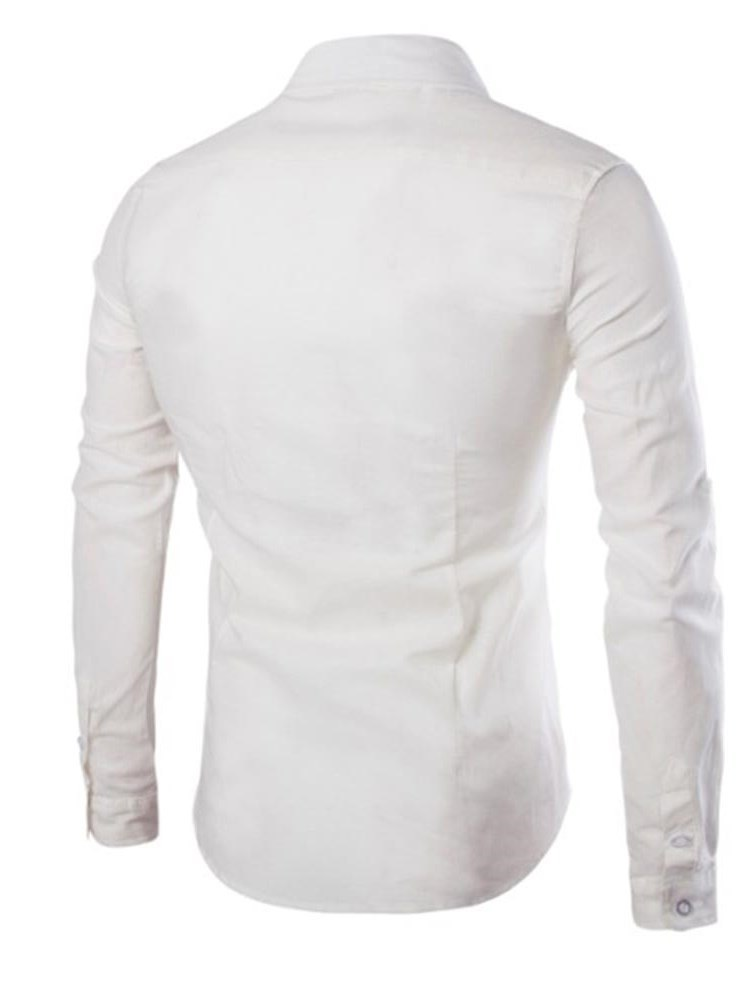 Ericdress Plain Slim Fitted Mens Casual Dress Button Up Shirts