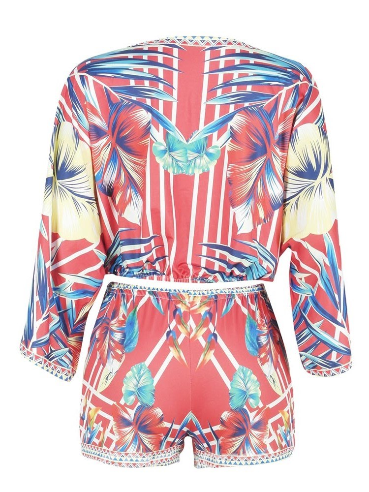 Ericdress Floral Print V Neck Women's Rompers