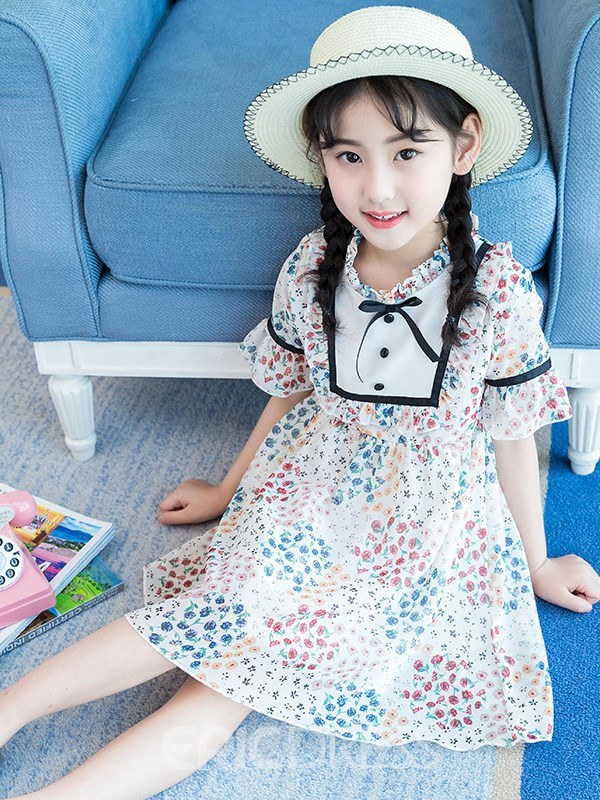 Ericdress Floral Printed A-Line Short Sleeve Girl's Dress With Bowknot