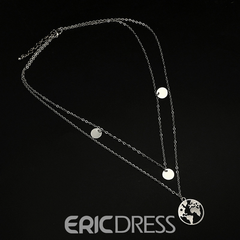 Ericdress Map Double Chain Charm Necklace