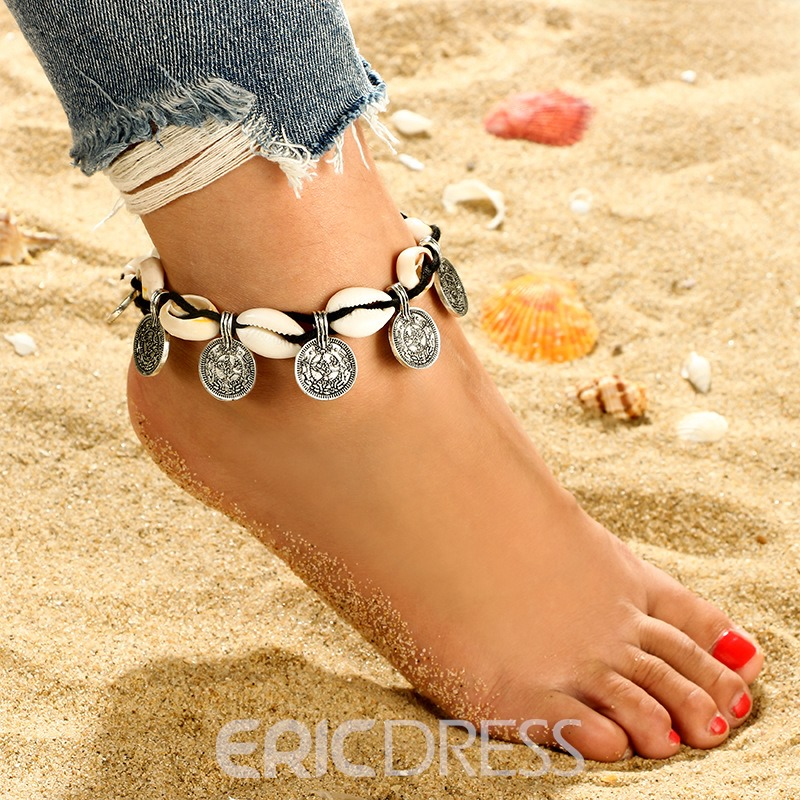 Ericdress Shell &Coin Anklet