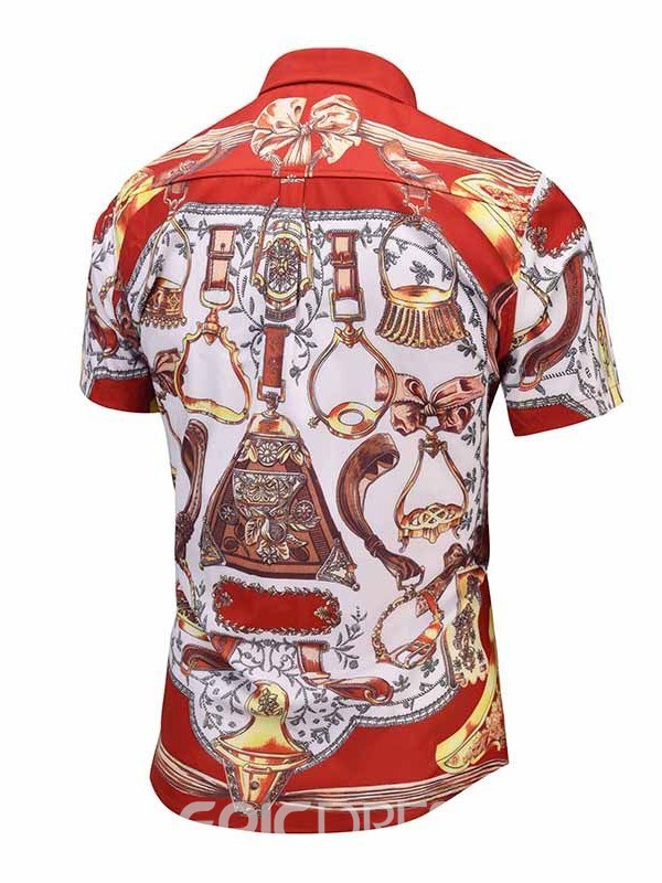 Ericdress Floral Printed Slim Fitted Mens Short Sleeve Shirts