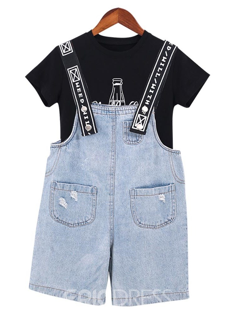 Ericdress Letter Printed T Shirts & Suspenders Girl's Casual Outfits