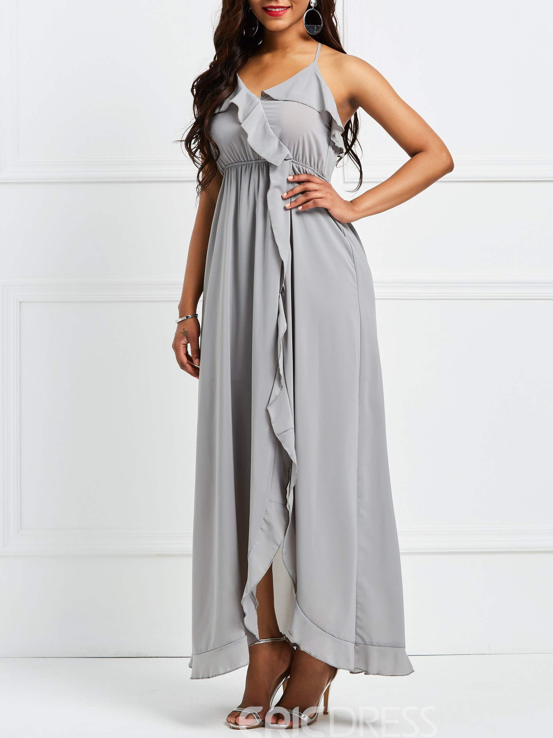 Ericdress Asymmetric Ruffles Backless Maxi Dress