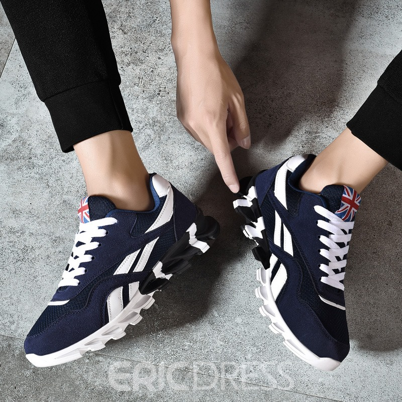 Ericdress Patchwork Color Block Mesh Lace-Up Men's Trainers