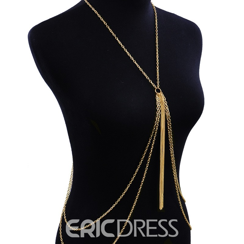 Ericdress Body Golden Chain Charm Necklace