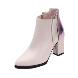 Ericdress Patchwork Pointed Toe Chunky Heel Boots