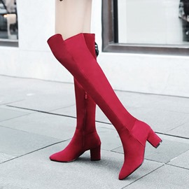 Ericdress Plain Pointed Toe Chunky Heel Knee High Boots