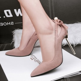 Ericdress Bow Beads Pointed Toe Stiletto Heel Pumps
